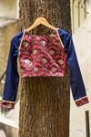 Blue red brocade blouse with raglan sleeves