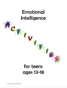 Intended Audience - teens Intended Developmental Period - adolescence Reason for Choosing - emotional development: emotional intelligence activities for teens Counseling Teens, Counseling Activities, Group Counseling, Group Activities For Teens, Social Work Activities, Physical Activities, Group Therapy Activities, Self Esteem Activities, Therapy Games