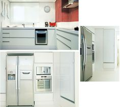 No espaço de 12 m², Deborah projetou um cômodo com bancada de Silestone®, piso de porcelanato polido e armários de MDF revestido com laminado melamínico e puxadores de alumínio escovado. O branco foi usado para ampliar e iluminar toda a cozinha. Os eletrodomésticos de inox ajudam a manter esse clima atual e minimalista. Um armário com portas de vidro serigrafado branco guarda xícaras e pratos, contribuindo na organização. Projeto: Deborah Vasallo Arquitetura