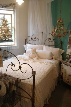 Bringing a bed off the corner of a room, rather than the face of a wall, can add more importance and highlight the piece better. Even in a smaller room it often takes away the cramped feeling. Thinner gauge beds are best in small rooms.