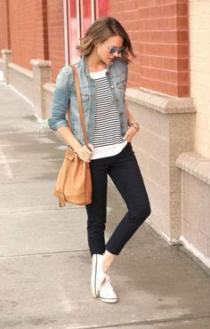 Toss a denim jacket over your favorite striped shirt #SpringStyle #Fashion