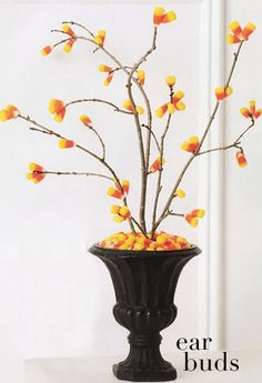 Candy corn tree..write things that you are thankful for on paper ornaments and tie on with coordinating ribbon