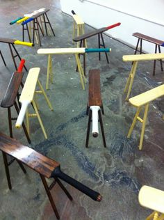 What a cool idea to repurpose old bats.Cricket Bat stools by Pierre Ospina Cricket England, Tent Design, Cricket Bat, Ms Gs, Toy Store, Drafting Desk, Repurposed, Number Art, Turtle Bay