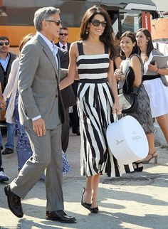 Amal Alamuddin channelled vintage Hollywood glamour in a retro monochrome Dolce & Gabbana dress George Clooney Wedding, Amal Alamuddin Style, Venetian Wedding, Bridal Wardrobe, Amal Clooney, Stripped Dress, Red Wedding Dresses, The Dress, Celebrity Style