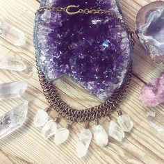The Olina Necklace! Starry Nights Quartz and Herkimer Diamond pieces. Making us ohhhhh! #vanesamooney #starrynights