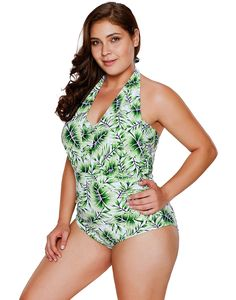 b2d6508ff5 HDE Women s Plus Size Bathing Suit One Piece Leaf Halter Monokini Swimsuit ( Green White