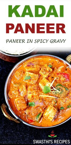 Kadai paneer - Make the most delicious kadai paneer at home with this simple recipe. Kadai paneer is a delicious North Indian dish made by cooking paneer in a spicy kadai masala. It goes well as a side with rice or naan. #curry #indian #paneer #kadaipaneer Healthy Indian Recipes, Indian Chicken Recipes, Goan Recipes, Paneer Recipes, Healthy Dinner Recipes, Vegetarian Recipes, Cooking Recipes, Cooking Dishes, Indian Soup