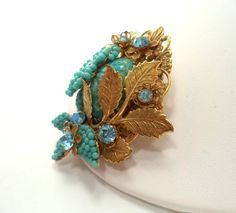 Miriam Haskell Turquoise Seed Bead Gold Plated Brooch Molded