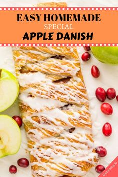 An Apple Danish Braid loaded with juicy caramelized apples and cranberries in a flaky pastry shell. This braided apple danish is easy and disappears fast! Apple Danish Recipe Puff Pastry, Puff Pastry Recipes, Pastries Recipes, Granny Smith, Apple Recipes, Holiday Recipes, Apple Desserts, Easy Margarita Recipe, Homemade Apple Butter