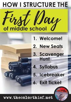 an adult, the first day of middle school is rather terrifying. You're sitting down, minding your own business, when you hear a horrid noise and you know that's the first bell. Middle School English, Middle School Classroom, 1st Day Of School, Beginning Of The School Year, Middle School Science, Math Classroom, Classroom Ideas, Middle School Procedures, Bulletin Board Ideas Middle School