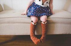Fox Socks Korean Style Toddlers Kids Girls Knee High Socks For Age 0-6 Years Chaussettes Renard#2458