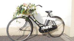 Vintage Bike with flower basket and signage.Wedding decor.