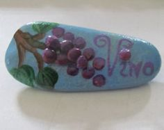 Vino hand painted rock with rock-on-rock grapes