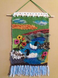 Weaving Art, Weaving Patterns, Tapestry Weaving, Loom Weaving, Knitting Patterns, Felt Wall Hanging, Form Crochet, Weaving Techniques, Felt Art