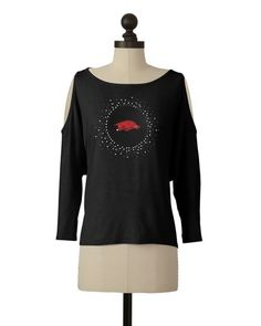 Arkansas Razorbacks | Cutaway Shoulder Top | meesh & mia