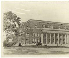 Architect's drawing of Aycock Auditorium :: University Archives