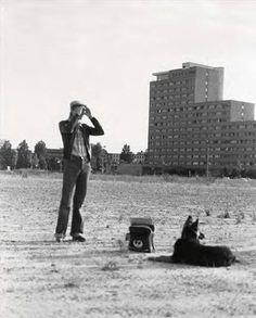 David Bowie and his German Shepherd on the wasteland of Berlin Photo Coco Schwab