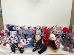 a7476fdcd27 20 PC LOT TY BEANIE BABY RED WHITE BLUE GLORY USA RIGHTY LEFTY SPANGLE SAM  UNION  Ty