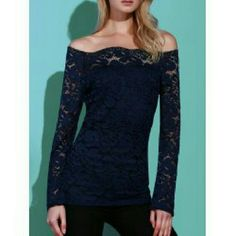 Navy Off-the-Shoulder Lace Top Very pretty off-the-shoulder lace top in classic navy. Navy lining in front and back. Tag displays a size larger than the actual fit. Please see measurements below.   Small - Bust: 15 inches, Waist: 13 inches, Length: 25.5 inches Tops Blouses