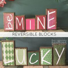 Reversible St. Patrick's Day AND Valentine's Day Theme Home Decor Wood Blocks - Lucky / Be Mine - (rustic version) {valentine day decor} by 417designsIA on Etsy https://www.etsy.com/listing/217540818/reversible-st-patricks-day-and