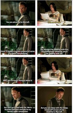 Sherlock and Joan, OMG lol so awkward... he has obviously thought about it.