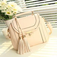 stacy bag women leather handbag for spring summer girls candy colors tassel girls vintage shoulder bag small messenger bag $14.00