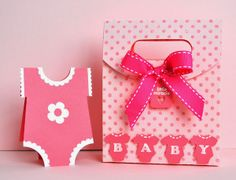Silhouette Cameo baby gift bag and onesie card - the gift bag is stamped with a Papertrey Ink Polk dots background stamp.