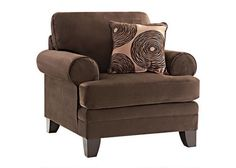 Whimsical Comfort. Update your living room with fun contemporary style and comfort with our Zoey Chocolate Chair. Classic rolled arms and clean lines give this collection a timeless appeal, with comfortable seating and flair you can really sit back and relax with your family. Accent pillows complete the fun style.