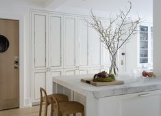wall of white kitchen cabinets