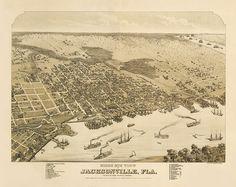 Vintage Map - Jacksonville, Florida 1876. $30.00, via Etsy.