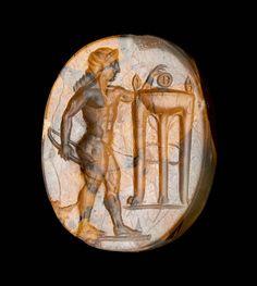 Scaraboid gem with Apollo and tripod | Museum of Fine Arts, Boston