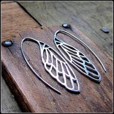 Silver wing earrings ~ dragonfly, butterfly, cicada wings ~ art nouveau inspired, symbol of renewal and transformation. ~ woodland charm