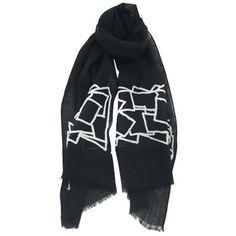 Asian Eye Bacchus scarf. 100% wool. It measures 19.5″ x 71″.