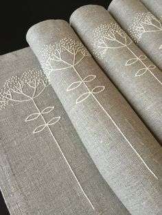Linen Placemats Hand Embroidery Set 6 Natural Linen by Rokasdarbi