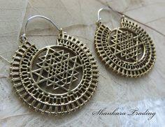 Sri Yantra Earrings Brass Tribal Earrings Hoop by ShankaraTrading