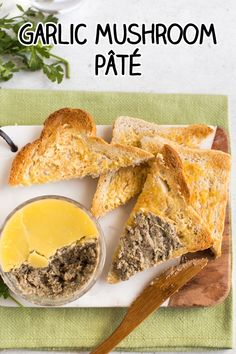 Garlic mushroom pâté - so much flavour! This easy vegetarian pâté is based on my standard pâté mixture which you can flavour however you like. An awesome retro appetiser! - March 03 2019 at Pate Recipes, Veggie Recipes, Appetizer Recipes, Cooking Recipes, Greek Recipes, Copycat Recipes, Cooking Tips, Dinner Recipes, Veggie Meals