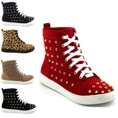 LADIES-SNEAKERS-FLAT-LACE-UP-STUDDED-ANKLE-WOMENS-HIGH-TOP-TRAINERS-3-8