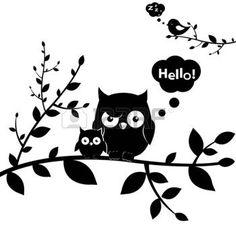 animali bianco e nero: 2 Gufi, isolati su sfondo bianco, illustrazione…