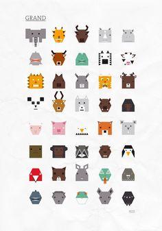 Designer : Tanguy Hamonic Pictogramme d'animaux à base de carrés et de triangles. http://tanguyhamonic.blogspot.fr/