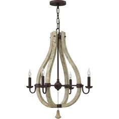 """This chandelier comes in larger and smaller sizes, and also has matching sconces, so feel free to inquire! Product Type: Candle-Style chandelier. Chain or Rod Length 10""""'. Material: Wood and seel. Material: Metal; Wood. 