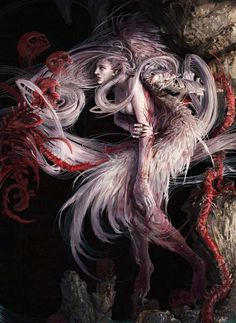 The glorious dark and macabre fantasy creation of painter and artist Noah-kh Kuang Hong. Dark Fantasy Art, Fantasy Kunst, Fantasy Artwork, Dark Art, Illustrations, Illustration Art, Design Spartan, Ange Demon, Angels And Demons