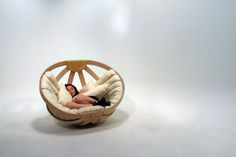 Cradle Rocking Chair ~ Okume, Canvas & Plywood by Richard Clarkson