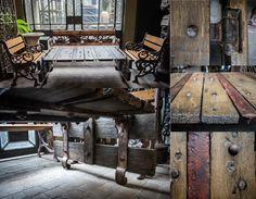 "Mesa ratona de la línea ""PURO ADN"", lograda a partir de un antiguo porton de cerca de cuatro hojas de fines del siglo XIX."