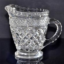 Antique Pressed Clear Glass Small Pitcher Creamer Diamond pattern