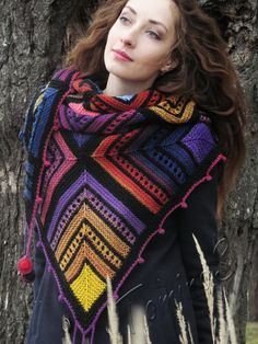 "Knit shawl ""Cheerful Shrovetide"" (knitted shawl, wool shawl, modular knitting, knit patchwork, stained-glass shawl, hand knit shawl)"