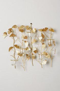 Lighting - Absolutely stunning candle sconce with lovely decor. This gold candle sconce boasts a sculptural ginkgo branch design. Gold Candles, Unique Candles, Candlestick Holders, Candlesticks, Candle Sconces, Wall Sconces, Candle Packaging, Boho Bedding, Gold Diy