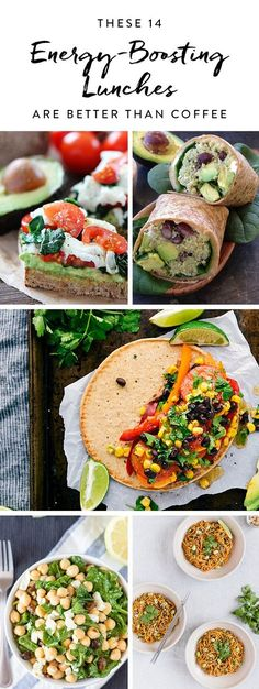 These 14 Energy-Boosting Lunches Are Better Than Coffee Try these energy-boosting lunch recipes designed to give you more energy than coffee and leave you ready to tackle the rest of the day. Eat For Energy, High Energy Foods, Energy Snacks, Foods To Boost Energy, Best Foods For Energy, Healthy Energy Foods, Food Energy, Healthy Lunches For Work, Healthy Snacks