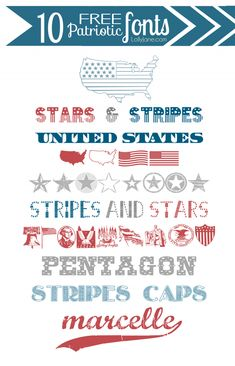 10 FREE patriotic (4th of July) fonts. Love these! #4thofJuly