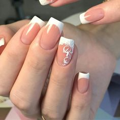 Cute Nails, Pretty Nails, Work Nails, Bridal Nail Art, Bride Nails, Fall Acrylic Nails, French Tip Nails, Beautiful Nail Designs, Flower Nails