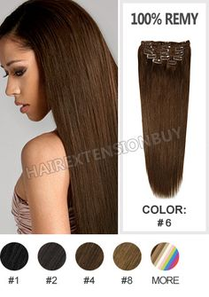 """Clip In Hair Extensions, 15"""" #6 Light/Chestnut Brown Straight Full Head Set Clip In Human Hair Extension [CHS0295] - www.hairextensionbuy.com"""